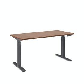 "Loft Single Desk, Walnut, 57"", Charcoal Legs,Walnut,hi-res"