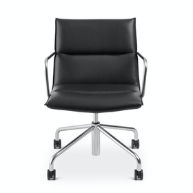 Black Meredith Meeting Chair, Mid Back,Black,hi-res