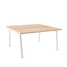 "Series A Double Desk for 2, Natural Oak, 47"", White Legs,Natural Oak,hi-res"