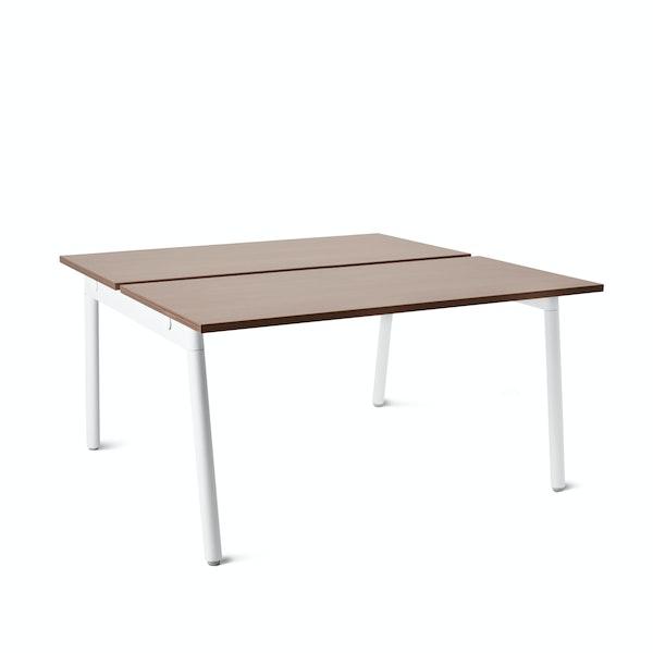 "Series A Double Desk for 2, Walnut, 47"", White Legs,Walnut,hi-res"