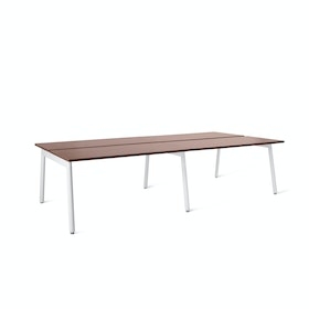 "Series A Double Desk for 4, Walnut, 47"", White Legs,Walnut,hi-res"