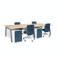 "Series A Double Desk for 4, Natural Oak, 47"", Charcoal Legs,Natural Oak,hi-res"