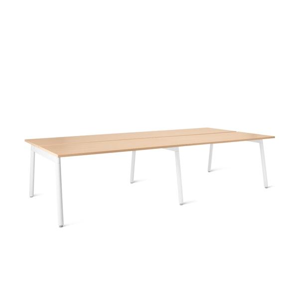 "Series A Double Desk for 4, Natural Oak, 57"", White Legs,Natural Oak,hi-res"