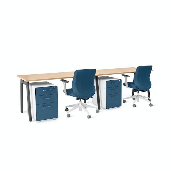 "Series A Single Desk for 2, Walnut, 57"", Charcoal Legs,Walnut,hi-res"