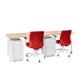 "Series A Single Desk for 2, Natural Oak, 47"", White Legs,Natural Oak,hi-res"