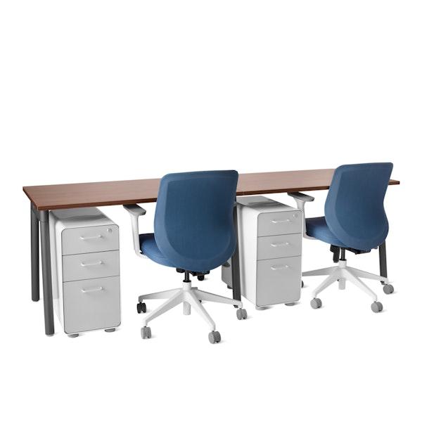 "Series A Single Desk for 2, Walnut, 47"", Charcoal Legs,Walnut,hi-res"