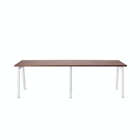 "Series A Single Desk for 2, Walnut, 47"", White Legs,Walnut,hi-res"