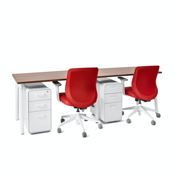 "Series A Single Desk for 2, Walnut, 47"", White Legs,Walnut,hi-res"