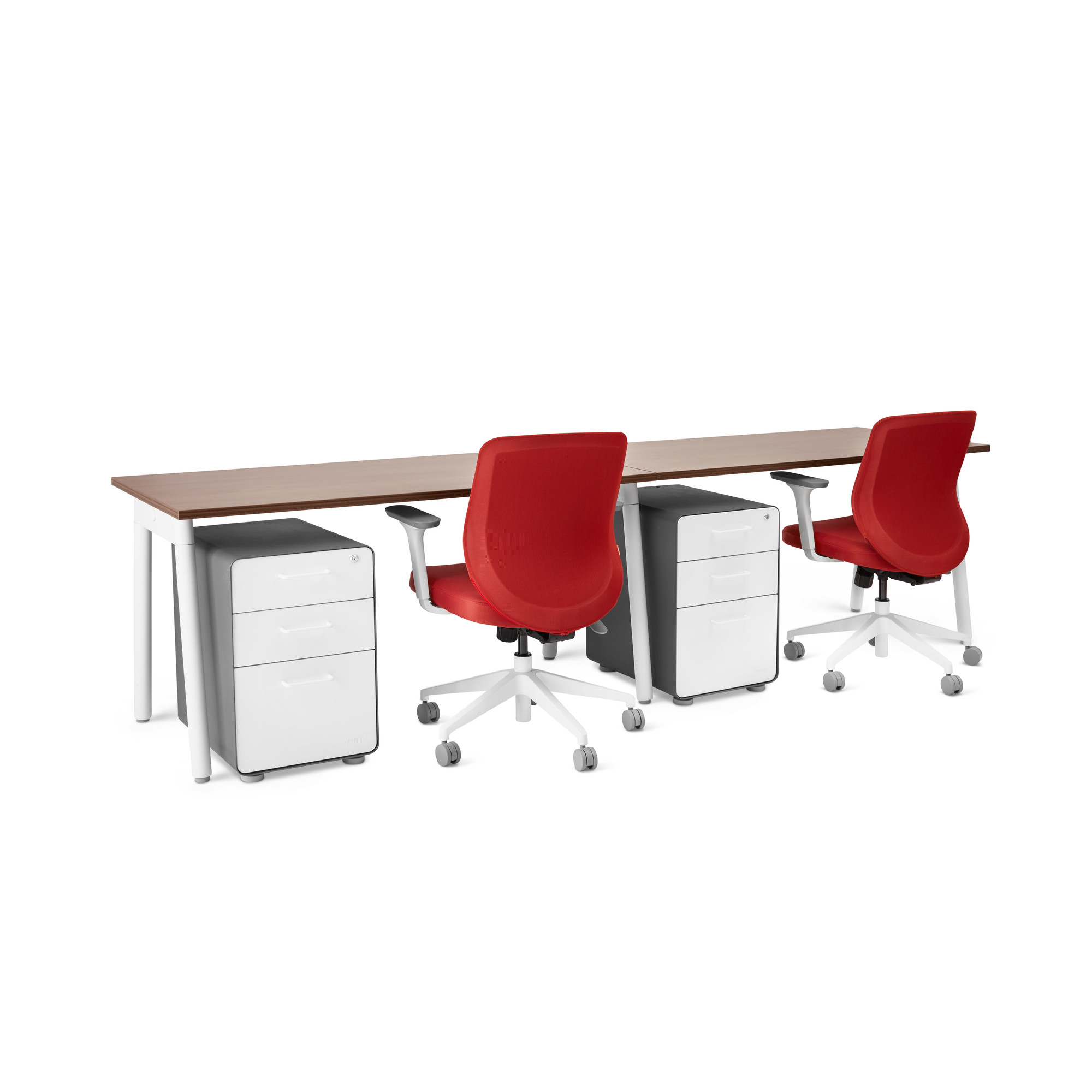 White walnut office furniture Steelcase Series Single Desk For 2 Walnut 57 Poppin Series Single Desk For 2 57
