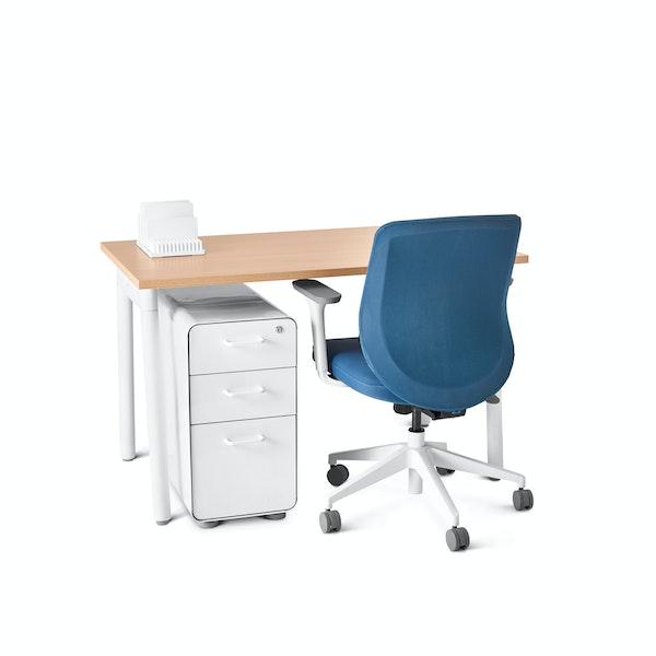 "Series A Single Desk for 1, Natural Oak, 47"", White Legs,Natural Oak,hi-res"
