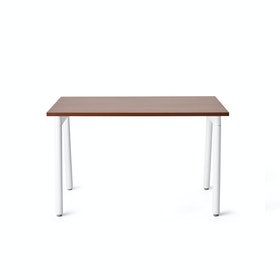 "Series A Single Desk for 1, Walnut, 47"", White Legs,Walnut,hi-res"