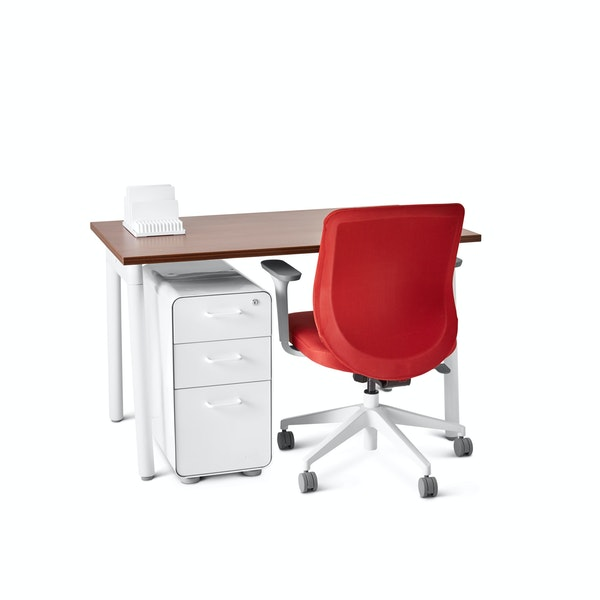 "Series A Single Desk for 1, Walnut, 47"", White Legs,Walnut,hi-res"