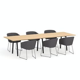 """Series A Conference Table, Natural Oak, 124x42"""", Charcoal Legs,Natural Oak,hi-res"""
