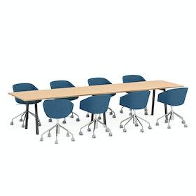 """Series A Conference Table, Natural Oak, 144x36"""", Charcoal Legs,Natural Oak,hi-res"""