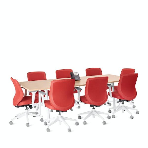 "Series A Conference Table, Natural Oak, 96x42"", White Legs,Natural Oak,hi-res"