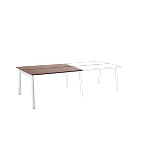"Series A Double Desk Add On, Walnut, 47"",  White Legs,Walnut,hi-res"