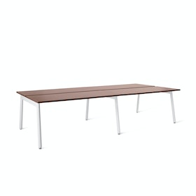 "Series A Double Desk Add On, Walnut, 57"", White Legs,Walnut,hi-res"