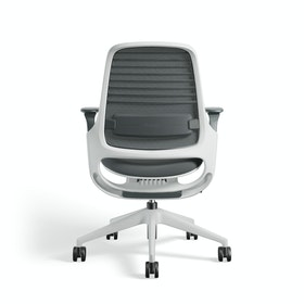 Gray Steelcase Series 1 Chair, White Frame