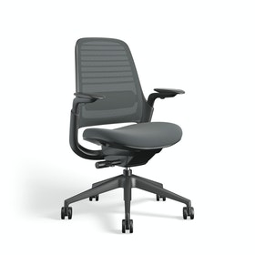 Gray Steelcase Series 1 Chair, Black Frame,Gray,hi-res