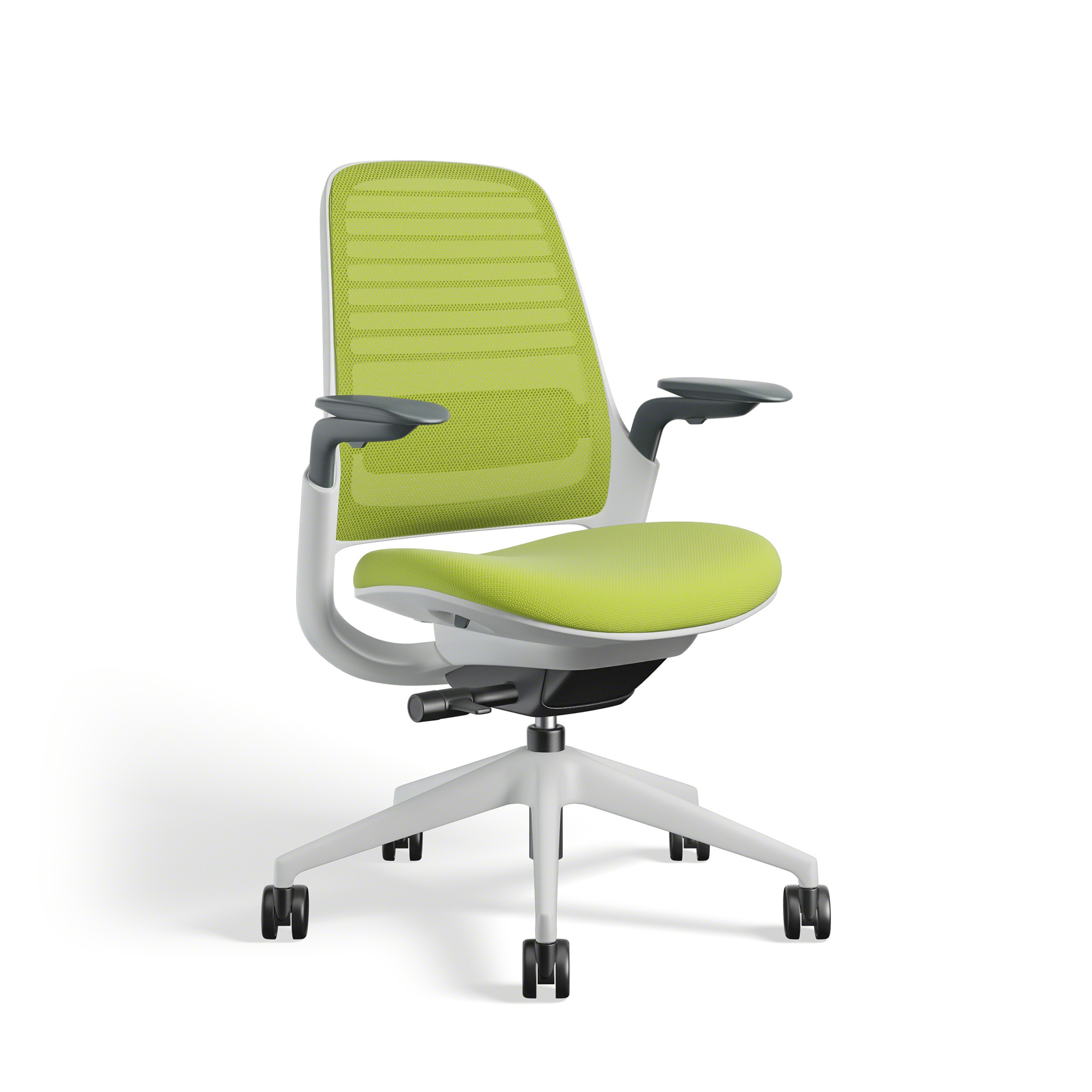 Lime Green Steelcase Series 1 Chair, White Frame | Office Furniture ...
