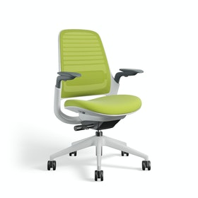 Lime Green Steelcase Series 1 Chair, White Frame