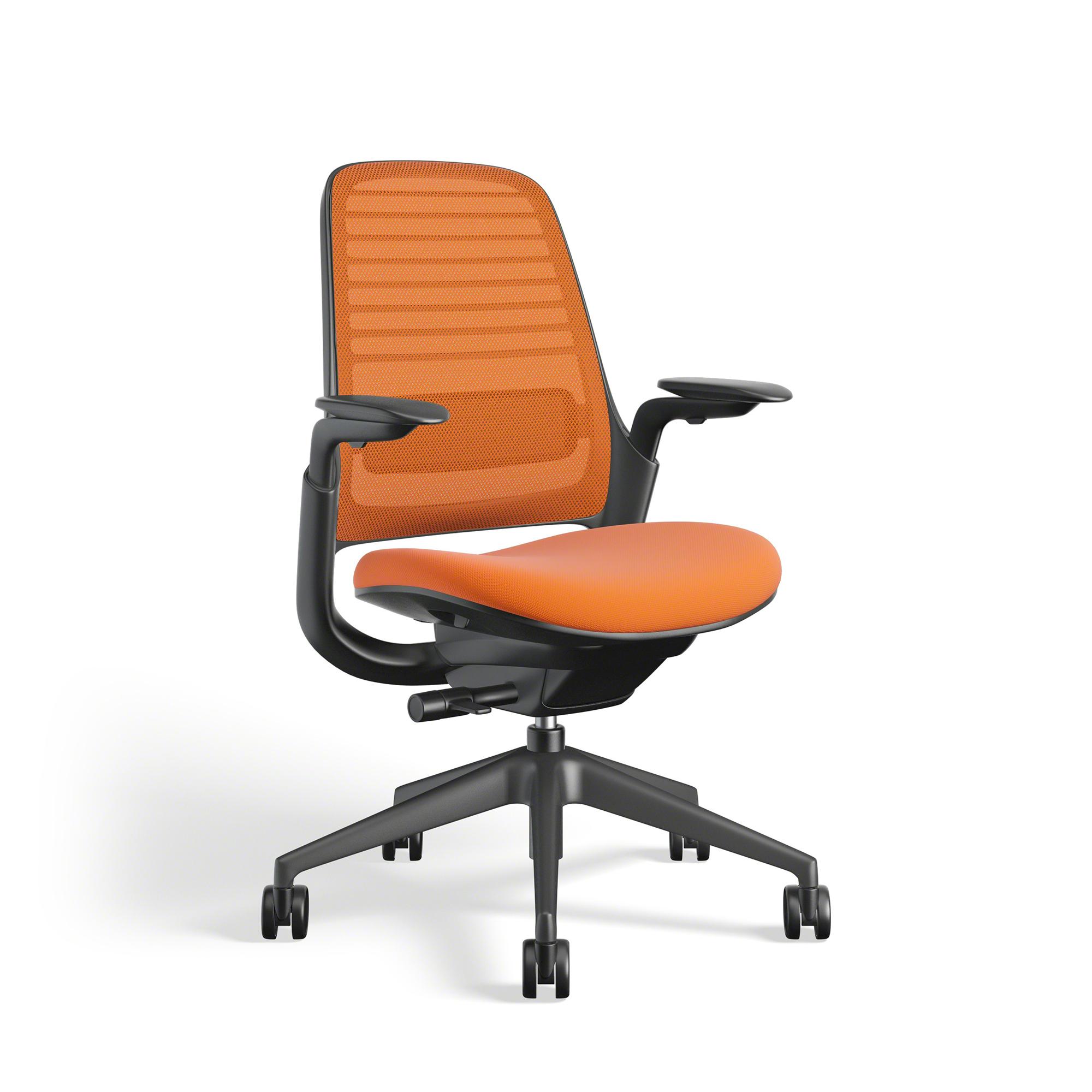Orange Steelcase Series 1 Chair, Black Frame | Office Furniture | Poppin