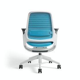 Pool Blue Steelcase Series 1 Chair, White Frame