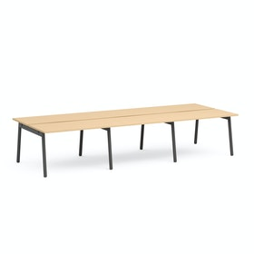 "Series A Double Desk for 6, Natural Oak, 47"", Charcoal Legs,Natural Oak,hi-res"