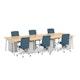 "Series A Double Desk for 6, Natural Oak, 47"", White Legs,Natural Oak,hi-res"