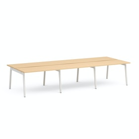 "Series A Double Desk for 6, Natural Oak, 47"", White Legs,Natural Oak,hi-res"