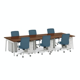 Series A Double Desk For 6, White Legs