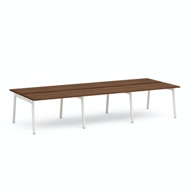 "Series A Double Desk for 6, Walnut, 47"", White Legs,Walnut,hi-res"
