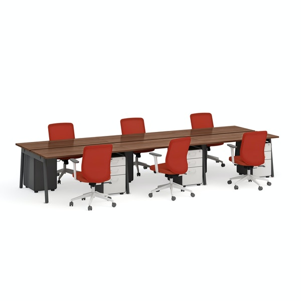 """Series A Double Desk for 6, Walnut 57"""", Charcoal Legs,Walnut,hi-res"""