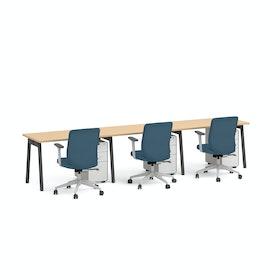 """Series A Single Desk for 3, Natural Oak, 47"""", Charcoal Legs,Natural Oak,hi-res"""
