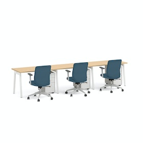 "Series A Single Desk for 3, Natural Oak, 47"", White Legs,Natural Oak,hi-res"