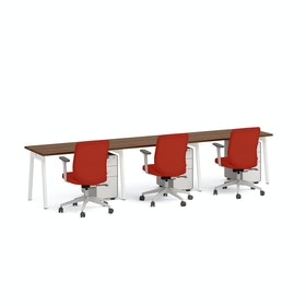 "Series A Single Desk for 3, Walnut, 47"", White Legs,Walnut,hi-res"