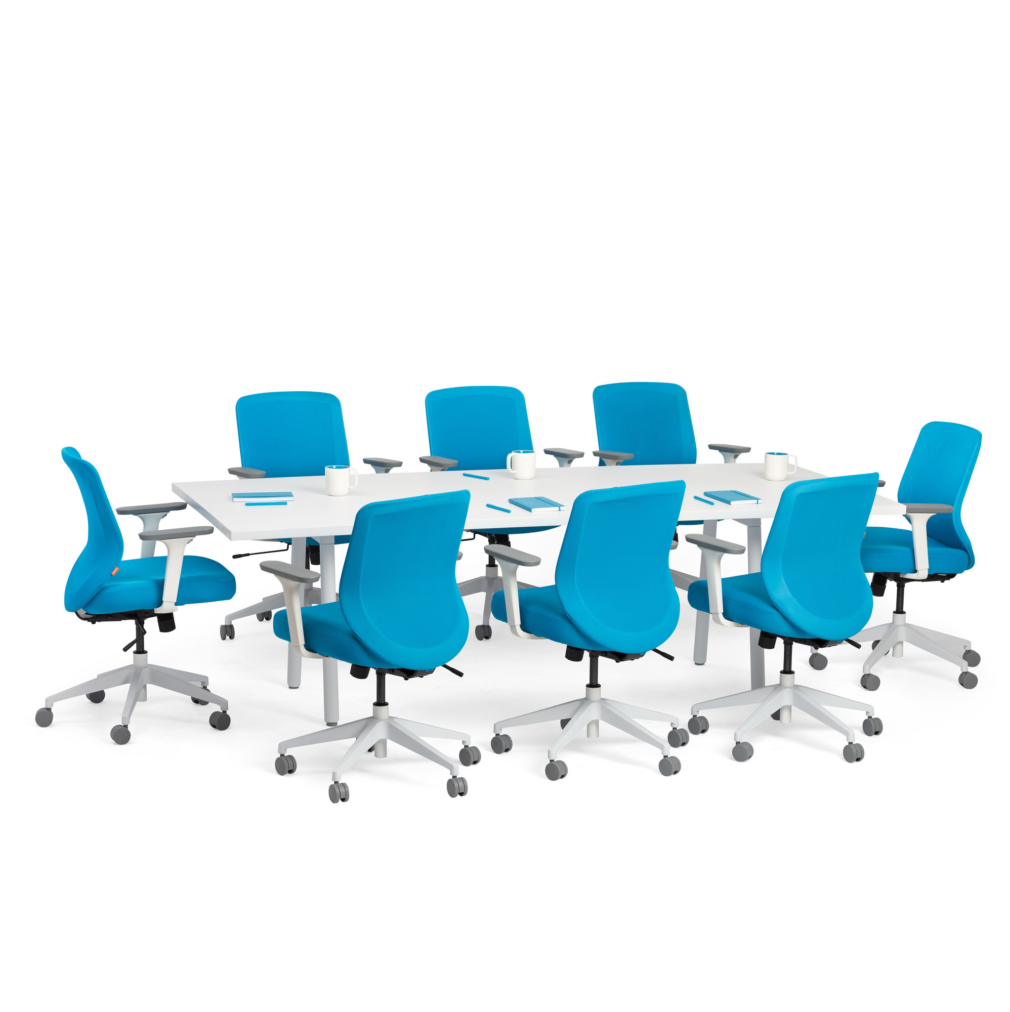 Series A Conference Table White Legs Modern Office Furniture Poppin - Blue conference table