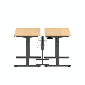 "Series L Desk for 2 + Boom Power Rail, Natural Oak, 47"", Charcoal Legs"