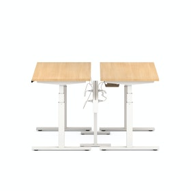 "Series L Desk for 2 + Boom Power Rail, Natural Oak, 47"", White Legs"