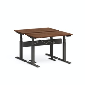 "Series L Desk for 2 + Boom Power Rail, Walnut, 47"", Charcoal Legs,Walnut,hi-res"