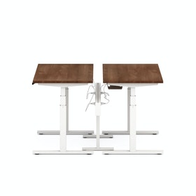"Series L Desk for 2 + Boom Power Rail, Walnut, 47"", White Legs,Walnut,hi-res"