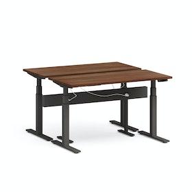 """Series L Desk for 2 + Boom Power Rail, Walnut, 57"""", Charcoal Legs"""
