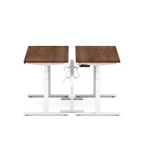 "Series L Desk for 2 + Boom Power Rail, Walnut, 57"", White Legs"