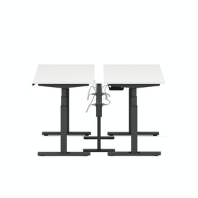 "Series L Desk for 2 + Boom Power Rail, White, 47"", Charcoal Legs,White,hi-res"