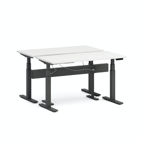 "Series L Desk for 2 + Boom Power Rail, White, 57"", Charcoal Legs,White,hi-res"