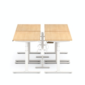 "Series L Desk for 4 + Boom Power Rail, Natural Oak, 47"", White Legs,Natural Oak,hi-res"