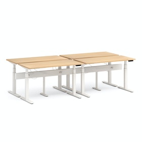 "Series L Desk for 4 + Boom Power Rail, Natural Oak, 57"", White Legs"