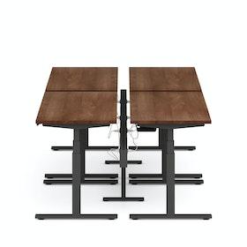 """Series L Desk for 4 + Boom Power Rail, Walnut, 57"""", Charcoal Legs"""