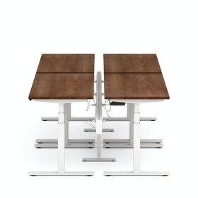 "Series L Desk for 4 + Boom Power Rail, Walnut, 57"", White Legs"