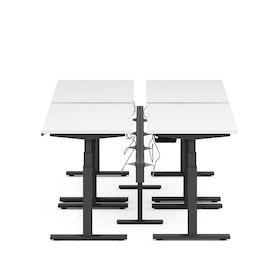 "Series L Desk for 4 + Boom Power Rail, White, 47"", Charcoal Legs,White,hi-res"